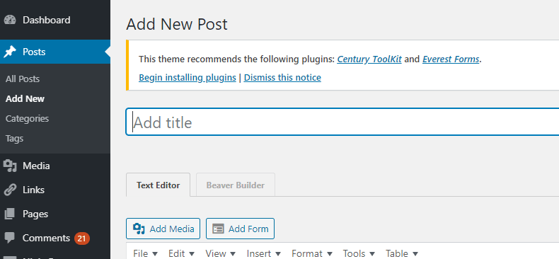 wordpress pages and posts