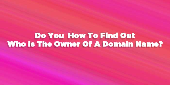 How to Find Out The Owner Of a Domain Name.